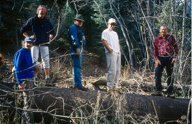 Rahn Zaccari, Tim Eihausen, Dick Fowler, Bill Whit, Gary Wild. Working on the old pipeline.
