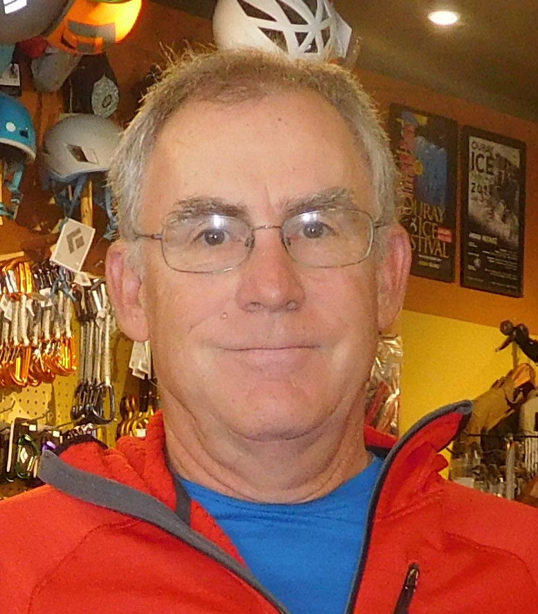 BILL LEO - Bill moved to Purgatory Ski Area in 1982 to pursue his love of skiing, climbing and kayaking. His company, Unordinary Adventures, put in one of the early backcountry ski huts in the San Juans. An avid telemark skier, he did several first descents of local plumb lines during those early years of backcountry skiing. He has also been a Class V commercial raft guide doing Upper Animas trips in those early days as well. Bill has lived in Ouray since 1996. He is the owner of Ouray Mountain Sports and is a past president and board member of OIPI who recently rejoined the board. He brings a wealth of knowledge of the history of the Ice Park and a passion for the continuing success of the park as well. In his spare time, Bill gets out on a specialized snowmobile and grooms the Ouray Nordic Council's system of cross-country ski trails at Ironton Park on Red Mountain Pass.