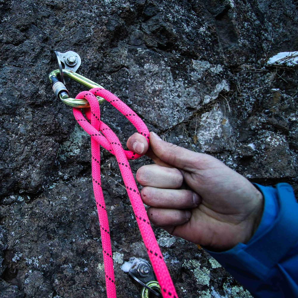 8. Adjust the clove hitch to equalize the strands of the anchor. -