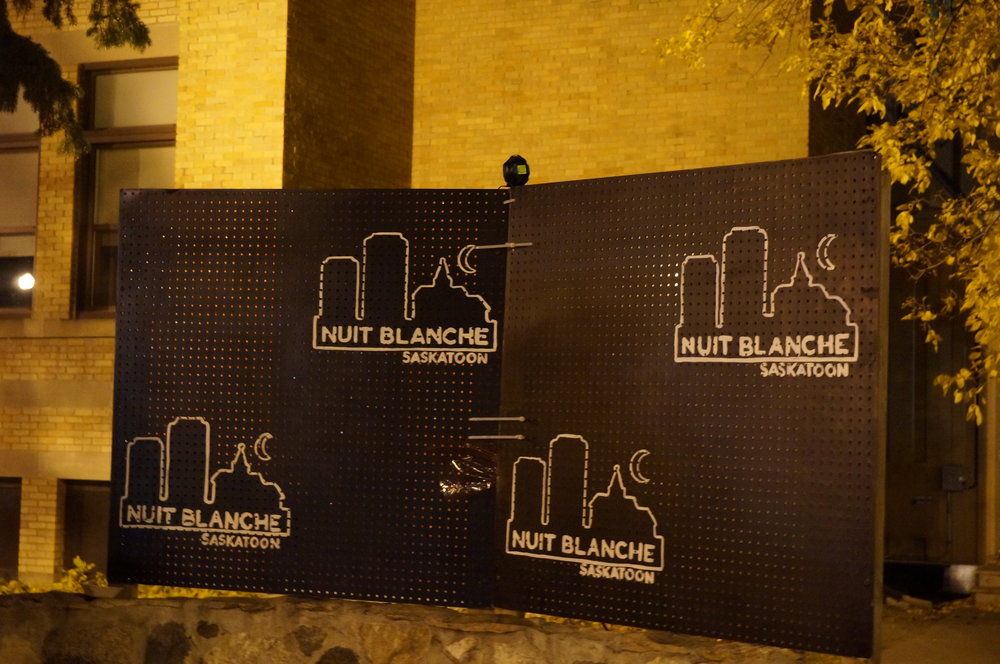 STUDENTS AT GEORGES VANIER SCHOOL // NUIT BLANCHE SIGN // PHOTO BY BEN SCHMIDT