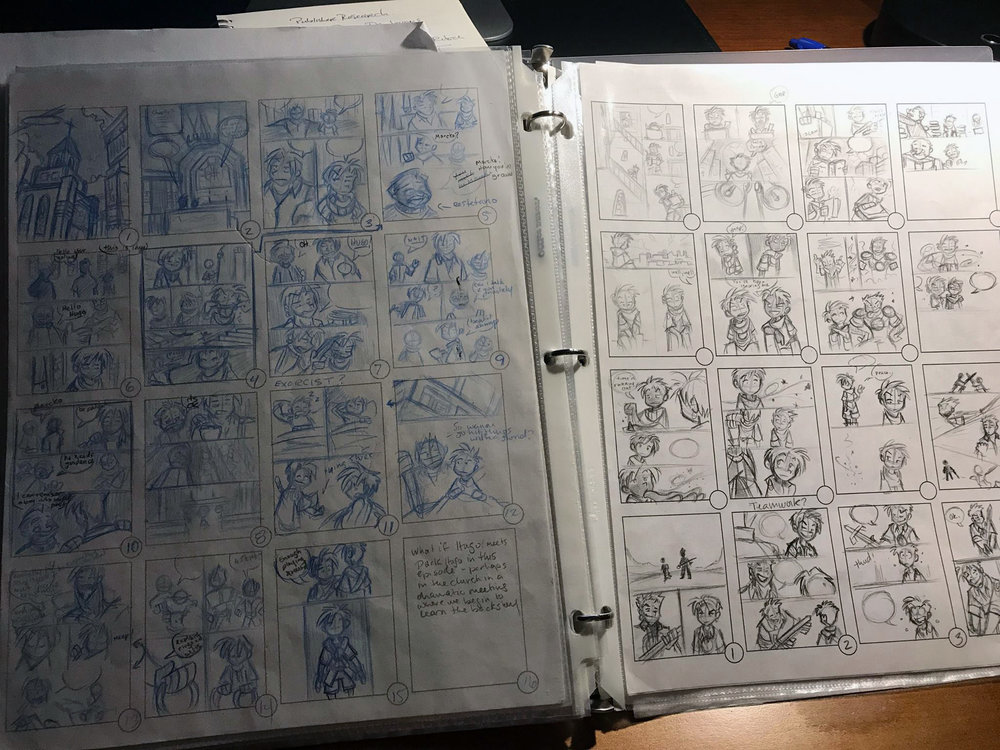 Collection of comic thumbnails by Chris Moujaes.