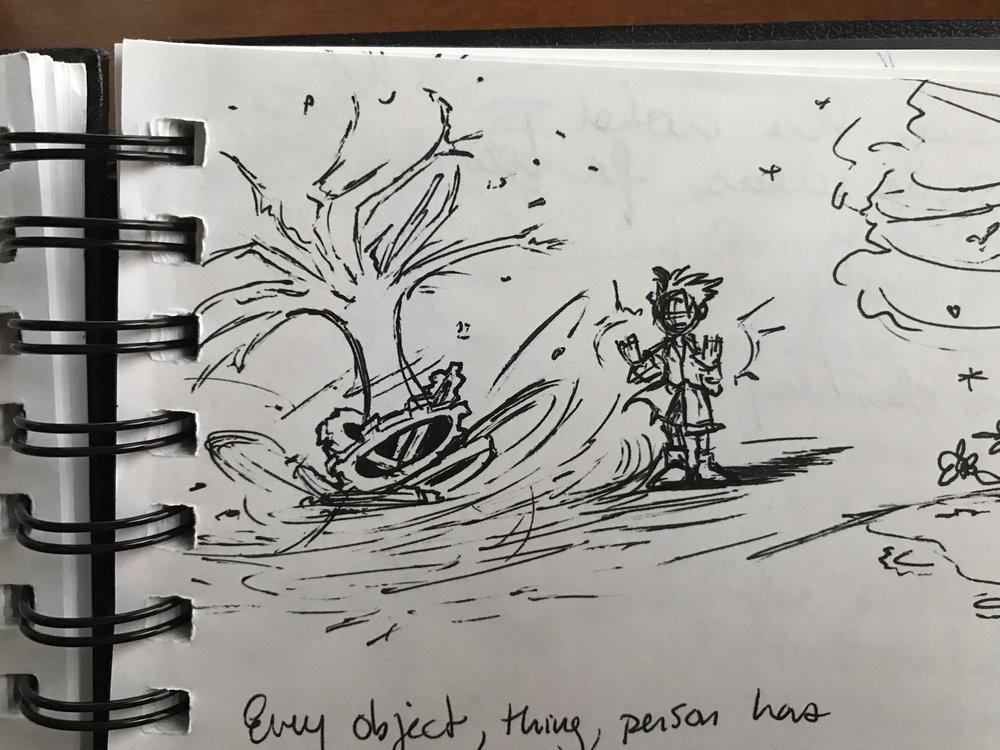 Hugo creating a Flux Destiny.Concept sketches by Chris Moujaes.