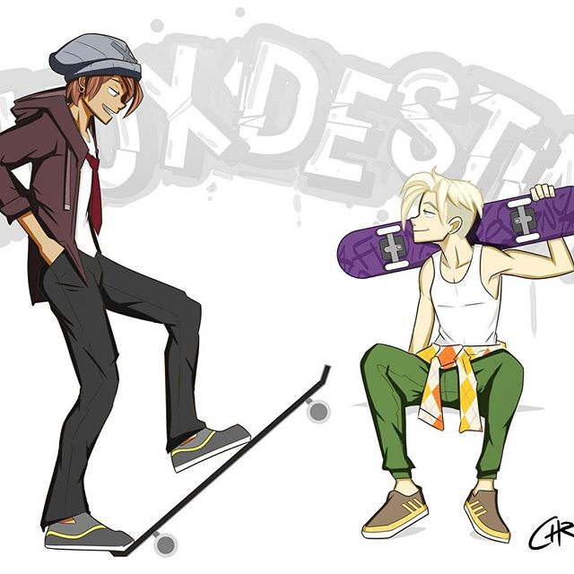 A piece I just finished featuring Marco and Hugo as skaterboys  #skaterboy #characterdesign #originalcharacter #teenagers#skateboard