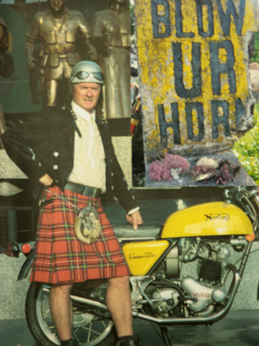 "Bruce's cover for his travel book ""Blow Ur Horn"" - both photos taken in the Philippines - the bike and him in the Royal Stewart Tartan kilt in Ayala Avenue at RCBC building, and the sign 'Blow Ur Horn' taken in the Batanes Islands."