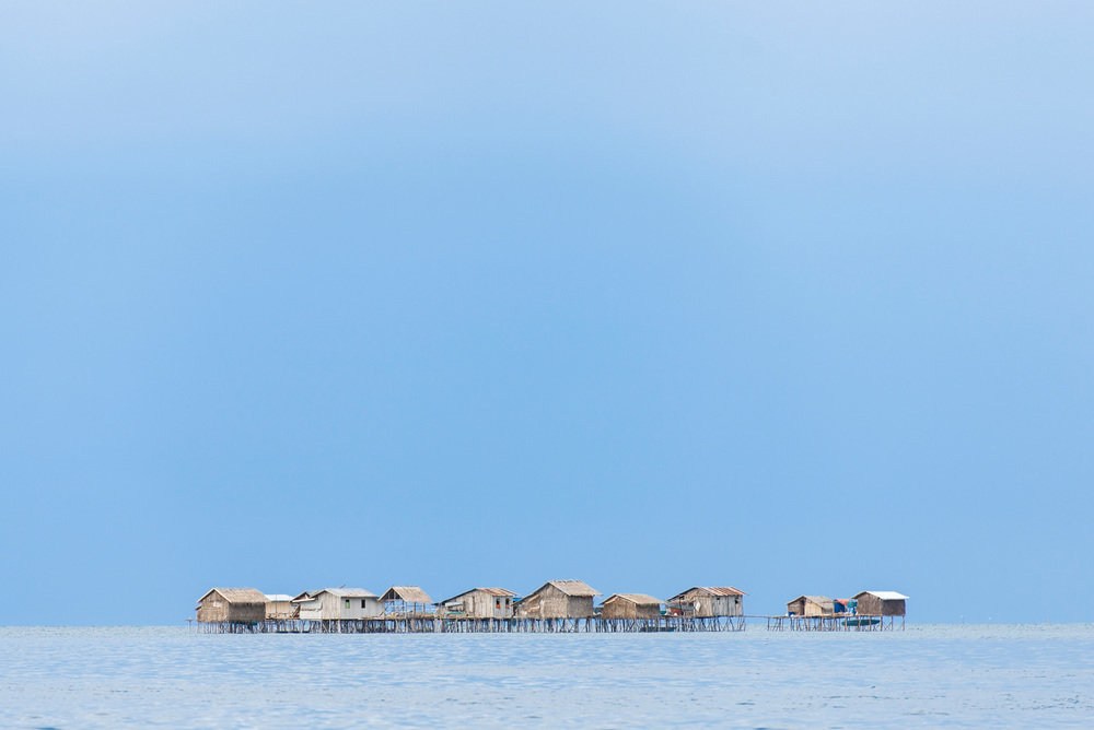A typical Sama-Bajau community with stilt houses over the coastal shallows of Tawi-Tawi.