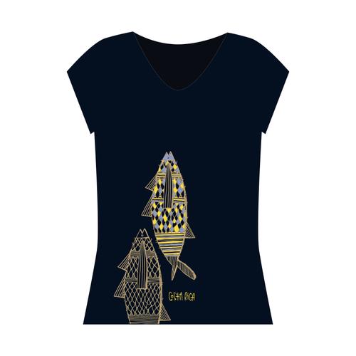 71619fd0df49 Fish V Neck Bamboo T Shirt — AG by Ana Gutiérrez