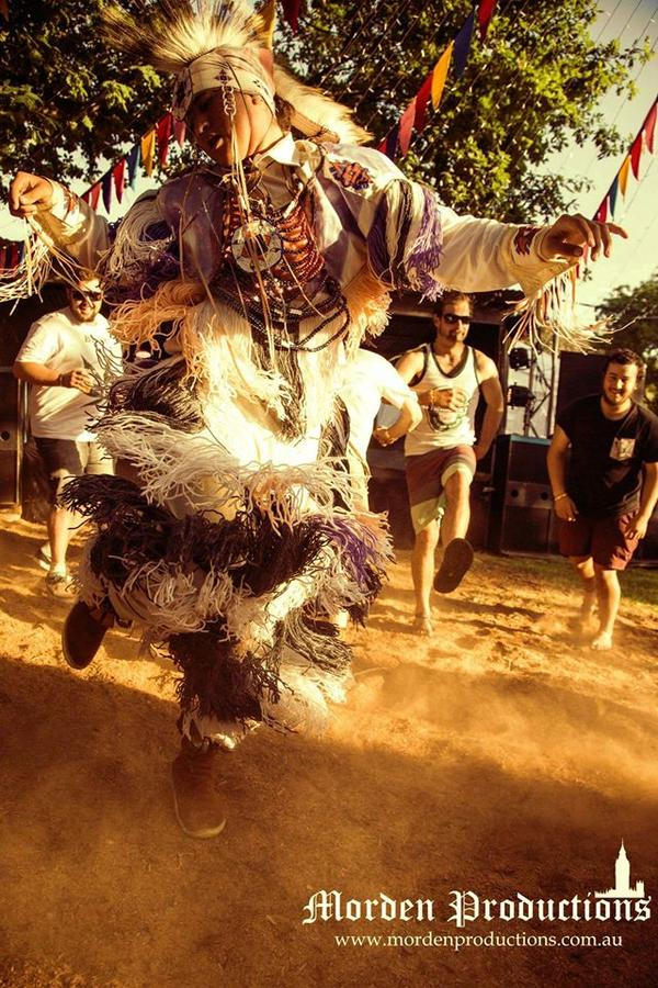 With 25 show dates across the Eastern region, we began our journey in the south and met with community along the way. Our first stop was in Melbourne. Here is a shot of Nalu during our performance at the Swaggerfest 2014 in Wandiligong... sharing Native American grassdance for the first time on Australian soil.