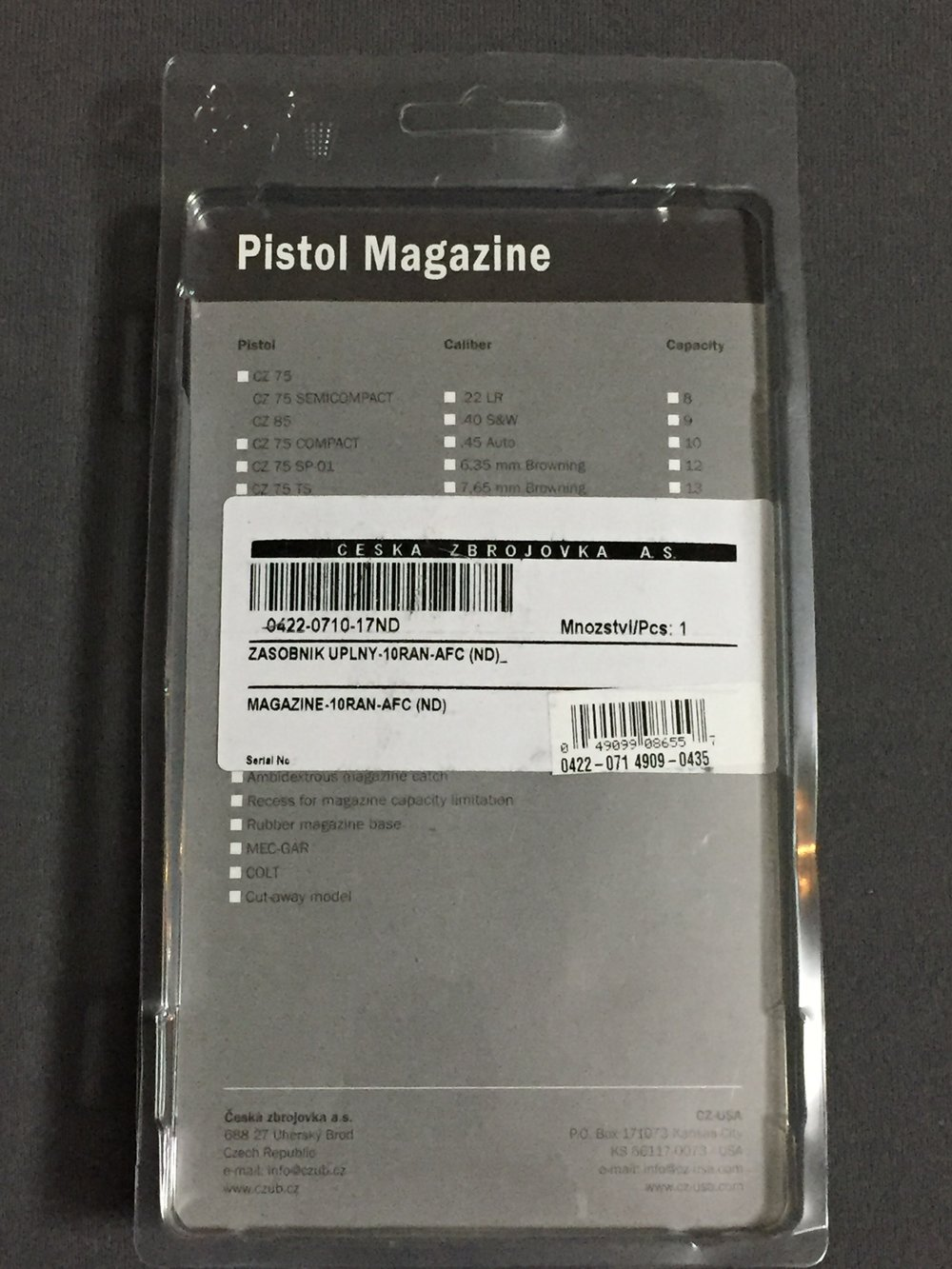 CZ 75/85/SP-01/Shadow 2 10rd Steel Pistol Magazine