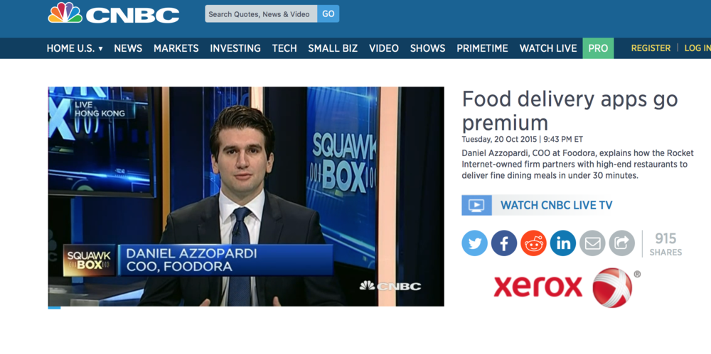 foodora food delivery premium luxury PR public relations food beverage restaurant Hong Kong launch COO CEO CNBC media interview