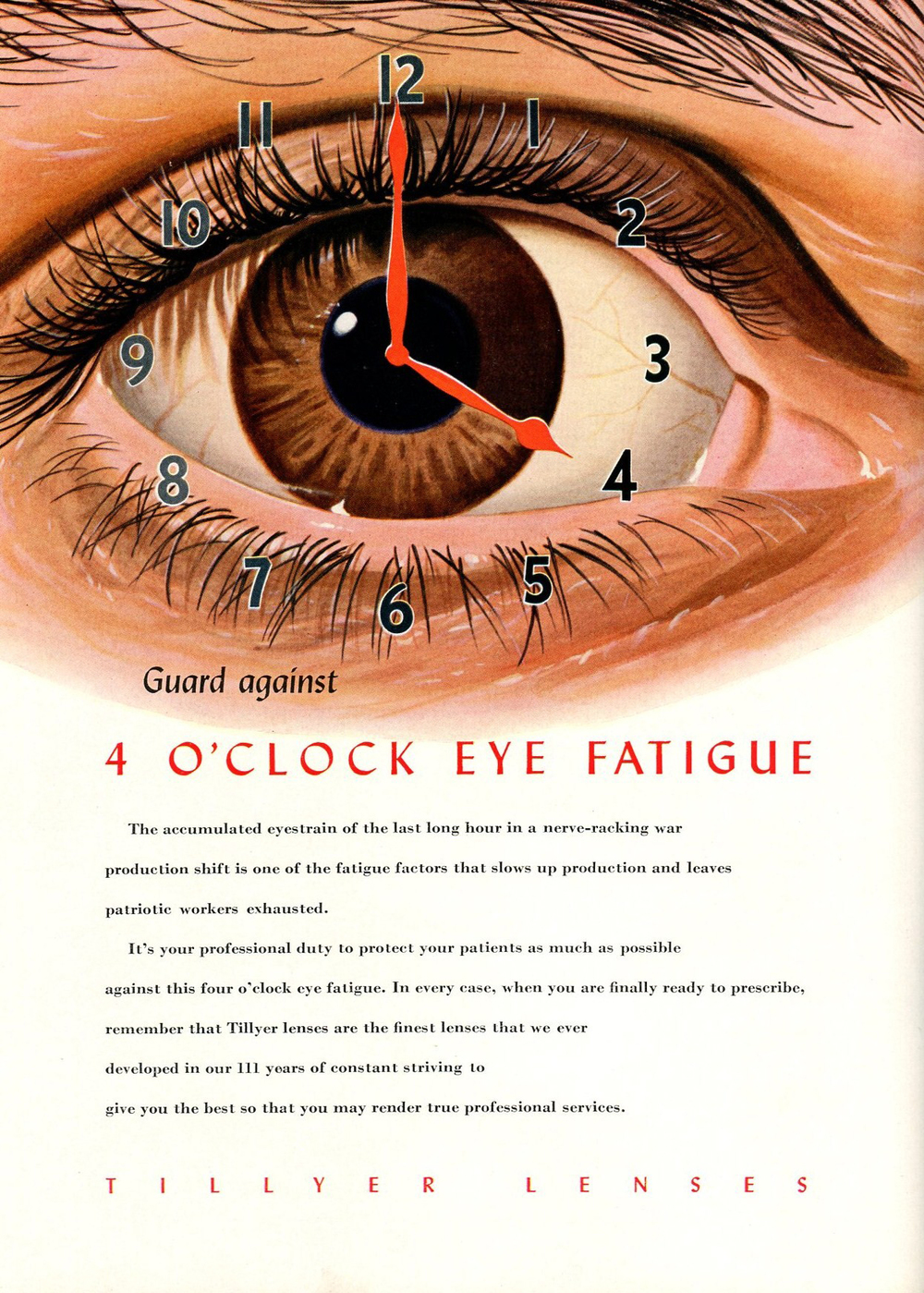 "Treating ""4 O'Clock Eye Fatigue"" (Advertisement from 1944)"