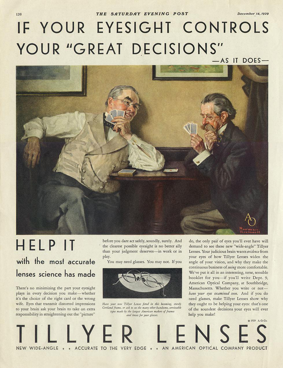 Norman Rockwell's painting featured in this advertisement for                        American Optical sold for $1.3 million in 2014