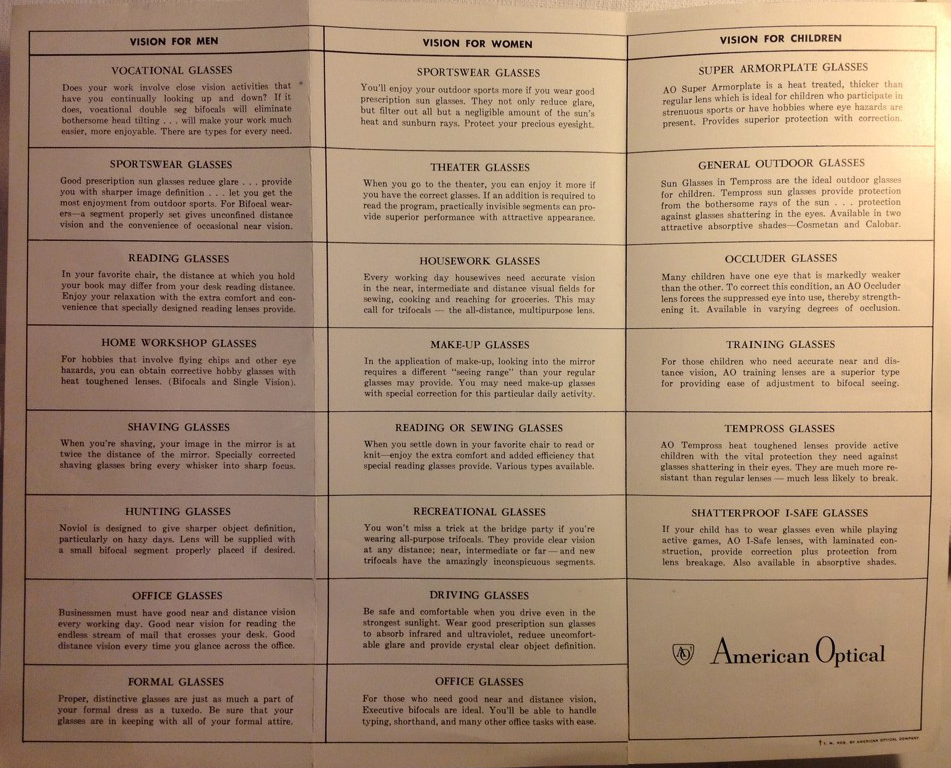 This brochure from 1950 highlighted as many as 22 different                                lifestyle options for the everyday wearer.