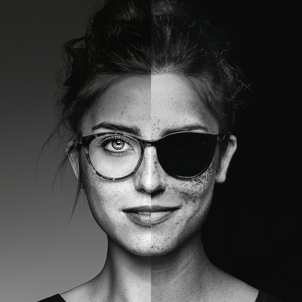 What does UV look like? - Under UV light (right) clear lenses that block all UV – up to 400nm – appear dark like sunglasses. Clear lenses would indicate incomplete UV protection.UV photography also helps to highlight sun damage to the skin in the form of sunspots and freckles