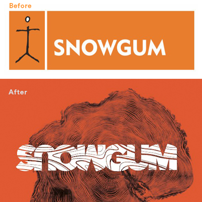 before after Snowgum identity