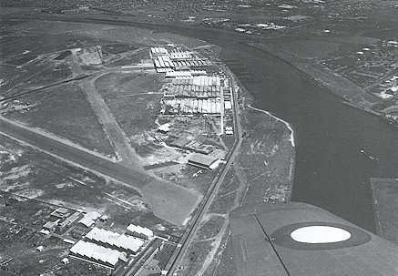 Fishermen's Bend c1946 showing former airstrip and Government Aircraft factory.