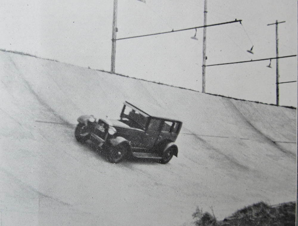 "Figure 1. The published caption reads, ""The photograph from which this illustration was reproduced was taken at the Maroubra Speedway, Sydney. It shows a Hudson Sedan car travelling on the track at a speed of 75 miles per hour. This is a very fine performance considering that the closed car is not intended for high speeds."""