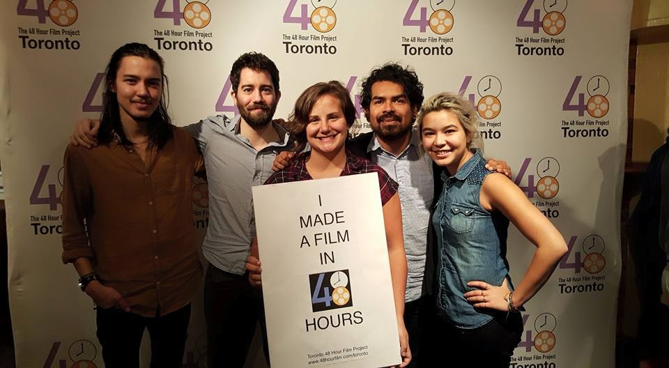 The talented core members of the team: Jordan (editor), Chris (photographer), Katie (director), Juan (cinematographer) and Miya (art director). Not pictured, Jose, our assistant director/line producer