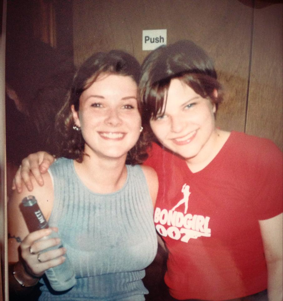 Author Holly Seddon (in red T-shirt) as a teenager on a night out