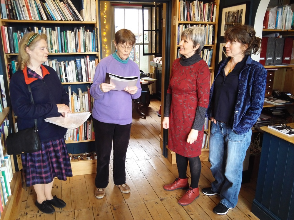 Pop-up poets Caroline Clark, (far left) and Agnes de Graaf with bookseller Diane Bailey and bookseller and author Helen Pendry (far right).