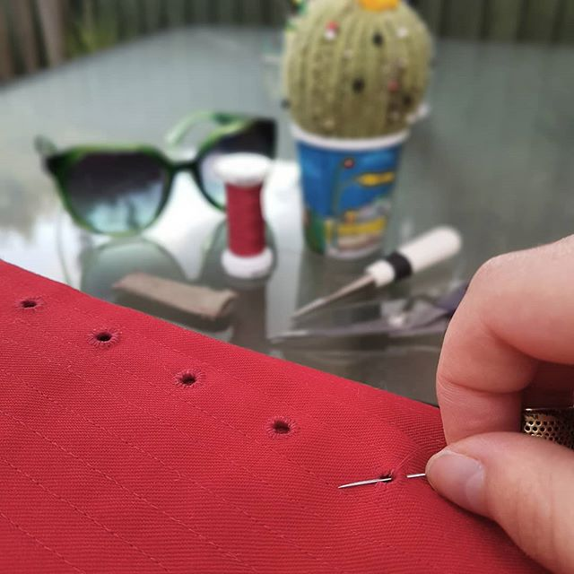 Stitching eyelets outside in the sun. . . . . . . #sewing #freelance #elizabethan #costumemaker #handmade #madeinbritain #freelance #tudor #historicalcostume #effigybodies #handsew
