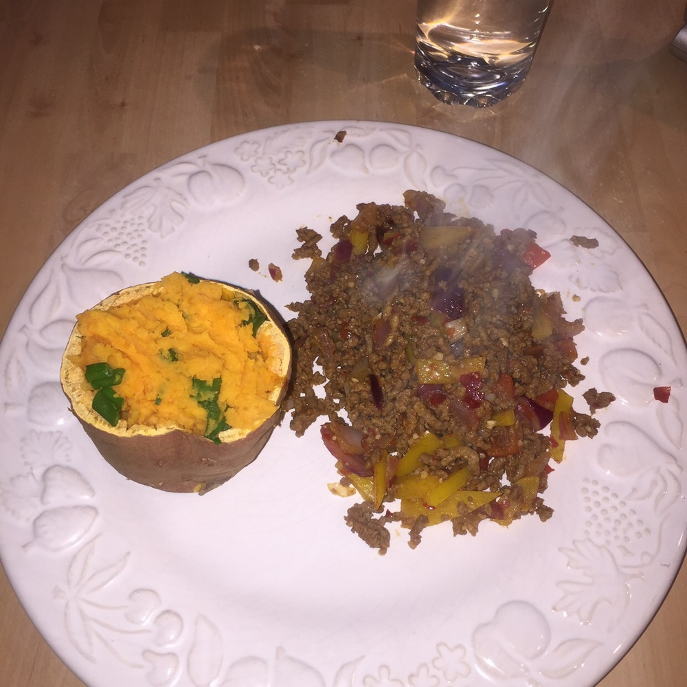Beef Mince Stir Fry with Baked Sweet Potato