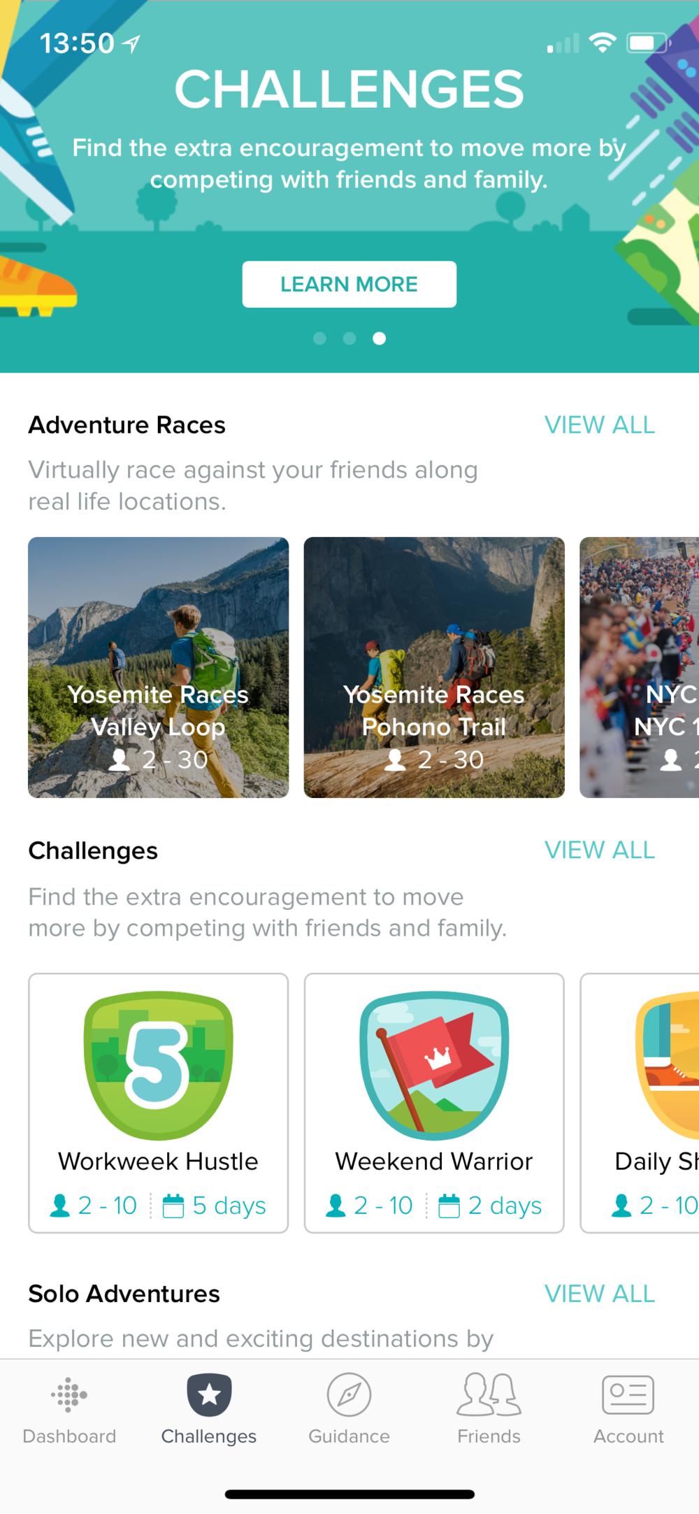 Screenshot from FitBit app