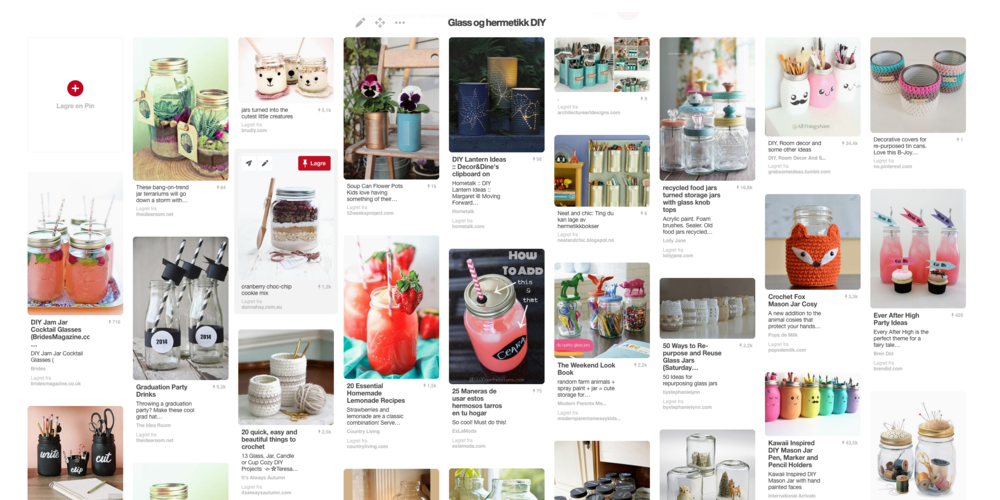 """GJER DET SJØLV: På pintrest.com er det sett opp ein samling av spennande ting du kan lage av emballasjen din. Søk opp tavla """"Glass og hermetikk DIY""""."""