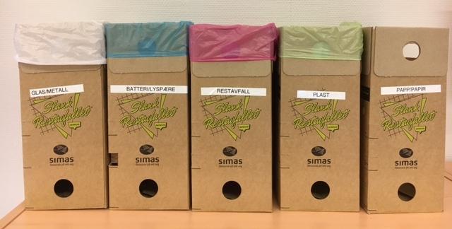 Her er eit døme på korleis de kan nytte boksane. For å skilje dei frå kvarandre kan de kjøpe posar i ulike farger og merka dei med klistremerker eller berre skrive på dei.