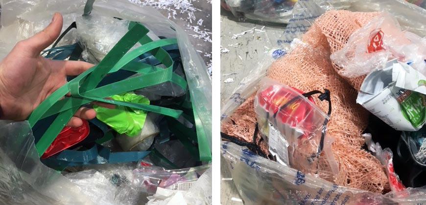 Pakkeband og vedsekker er restavfall. FOTO: Simas