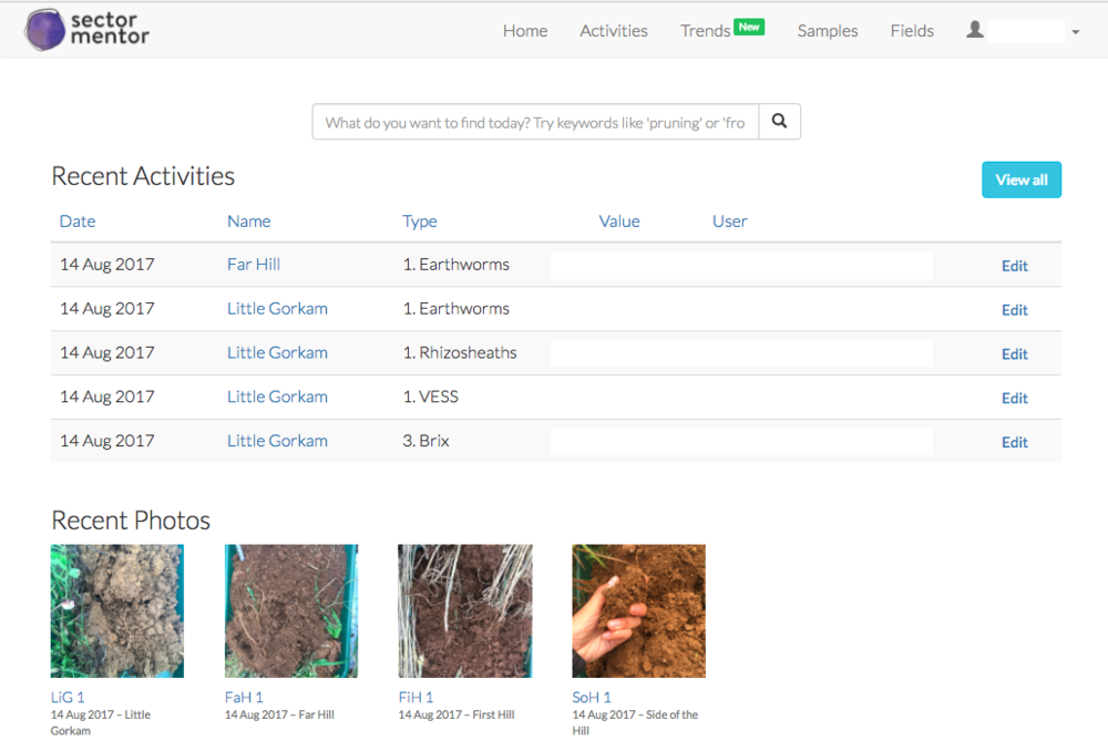 A view of the dashboard where you access all your data and photos collected in the field.