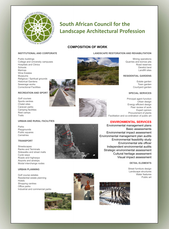 This SACLAP poster gives a short summary of the various projects we undertake as Professional Landscape Architects.