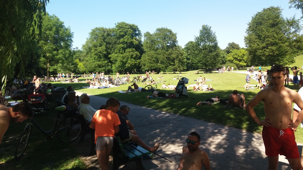 Sunbathers in English Gardens
