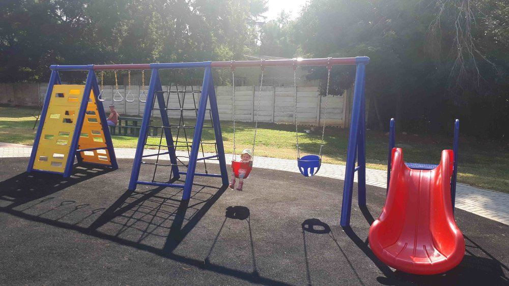 New jungle gyms for smaller tots have recently been installed with rubber matting surfaces.