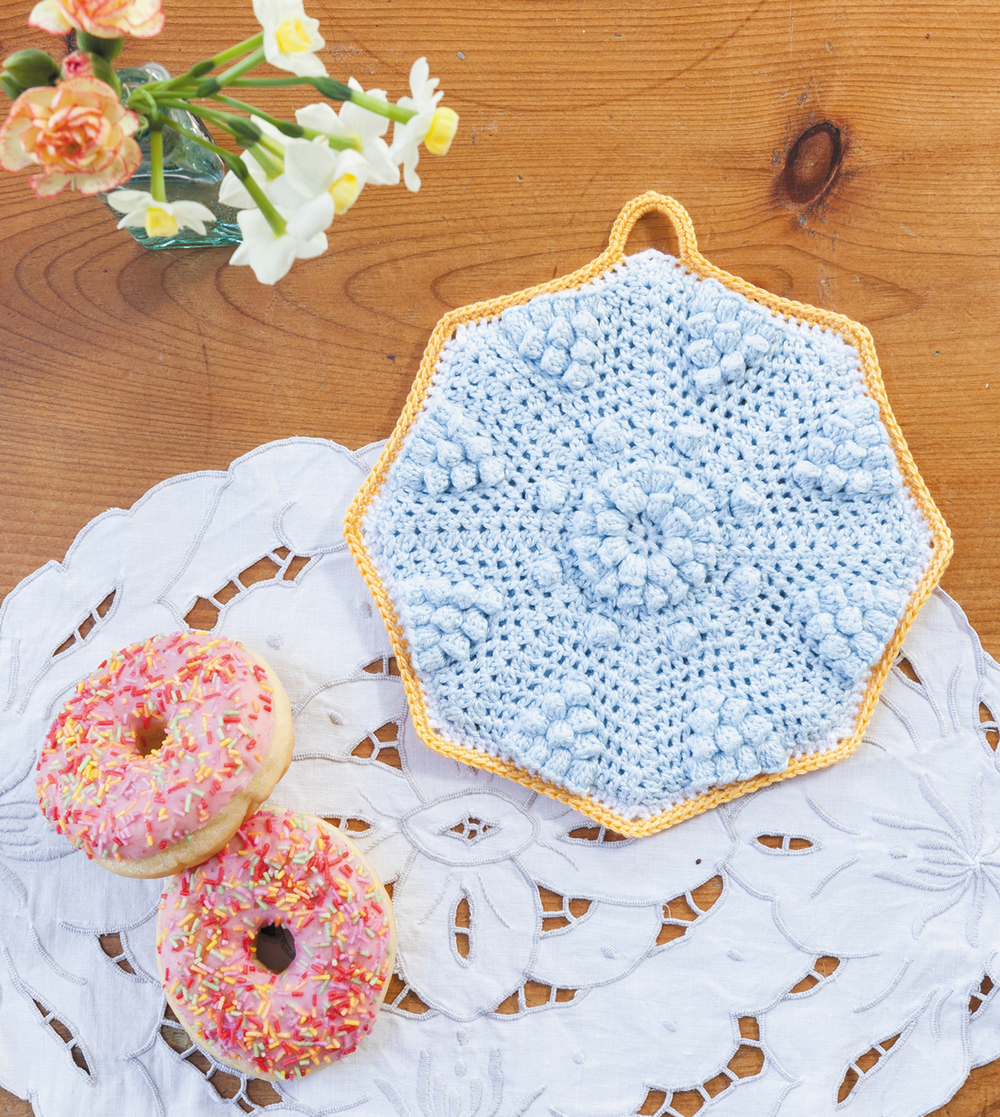 Octo-Pop Potholder from Crochet Home by Emma Lamb | Crochet designs and styling by Emma Lamb / Photography by Jason M Jenkins