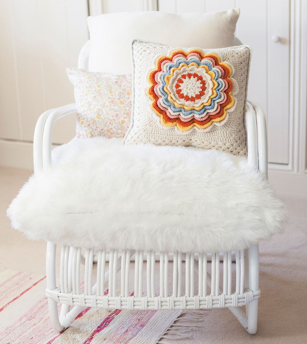 Fabulous Rose Cushion from Crochet Home by Emma Lamb | Crochet designs and styling by Emma Lamb / Photography by Jason M Jenkins