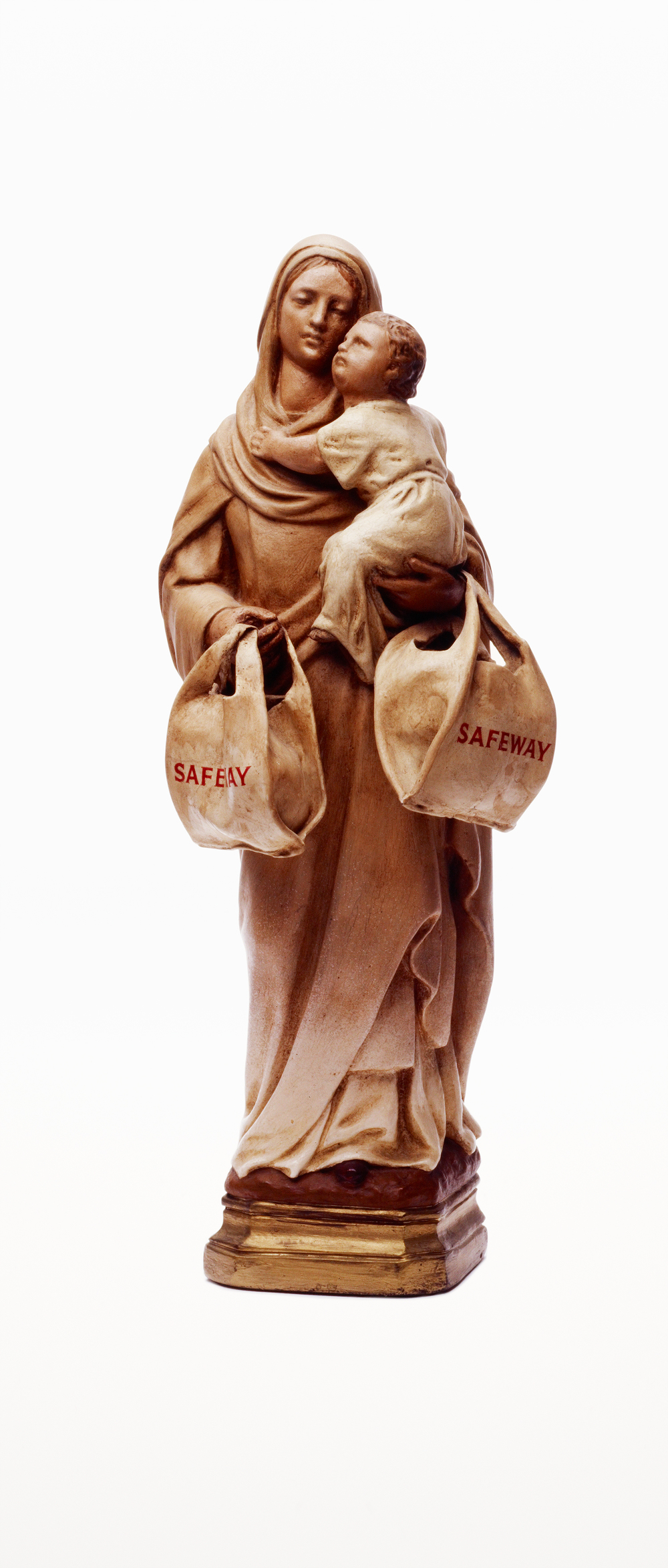 Madonna with Safeway bags