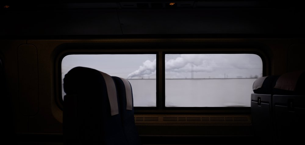 The Amtrak Keystone line en route from New York City to Lancaster, PA. January, 2016.