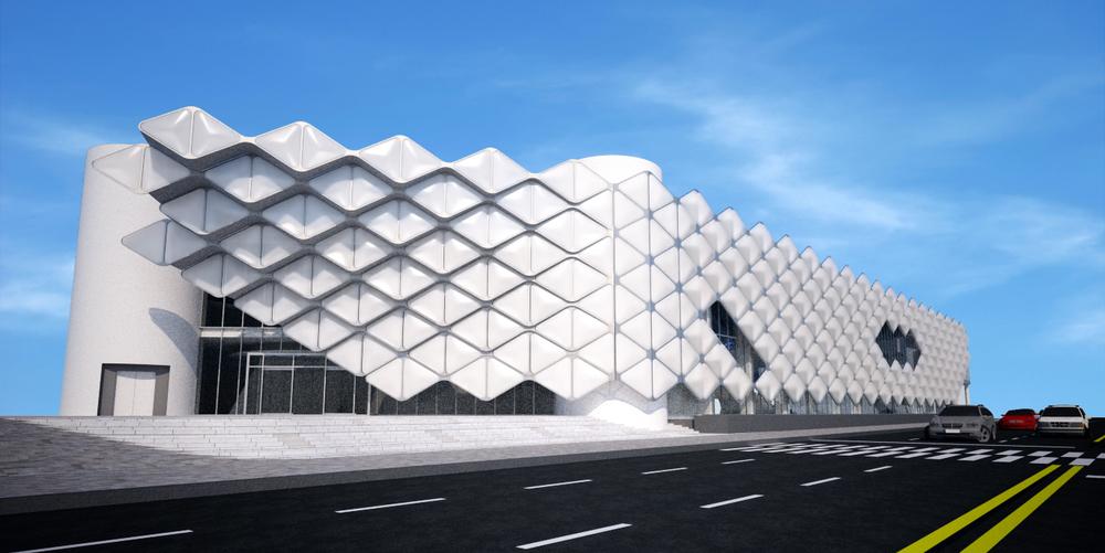 국립어린이과학관 건축예상투시도(안), (위)외부투시도-입면1, (아래,왼쪽부터)외부투시도-극장입구,입면2,주출입구
