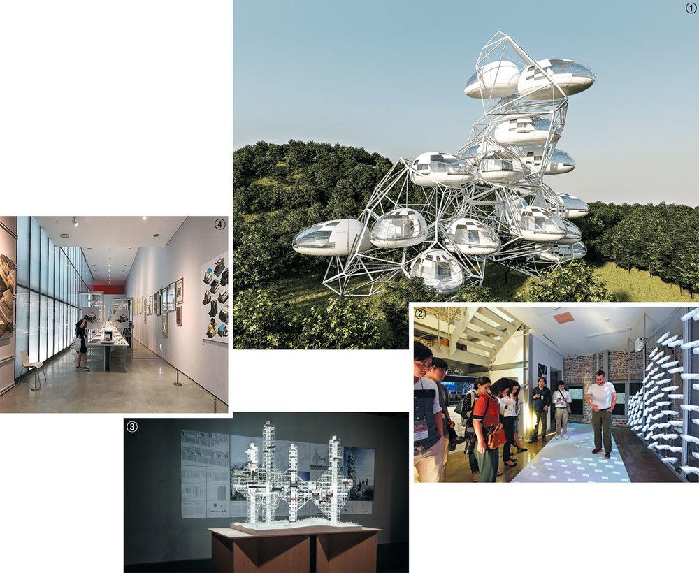 ①'퓨처하우스 2020'에 전시되는 건축가 유걸의 '페블 & 버블' 가상도. 조약돌 모양의 주거 공간 '페블'을 여러 개 조합해 간편하게 마을을 구성한다는 아이디어를 담았다. ②서울도시건축비엔날레 주제전이 열리는 서울 사직동 돈의문박물관마을에서 설치 작품을 살펴보는 관람객들. ③'자율진화도시'에서 미래 아파트의 가능성을 제시한 송진영의 '함께살기'. ④'종이와 콘크리트'에서 1980~1990년대 건축 도서와 잡지 등을 둘러보는 관람객들. / 아이아크건축사사무소·서울디자인재단·송진영·국립현대미술관