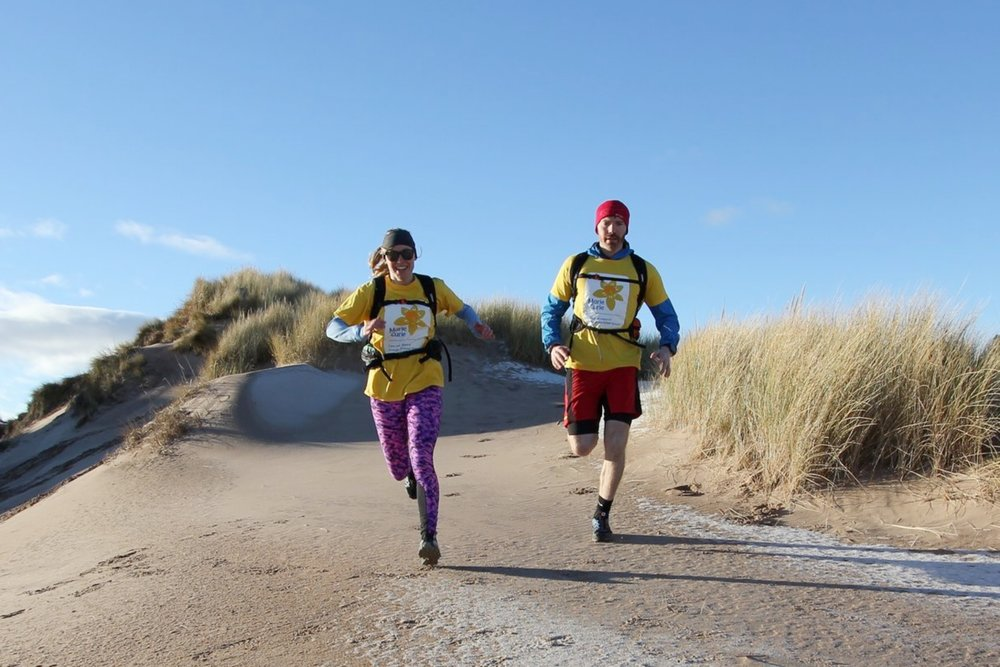 Hazel and Luke during some dune running practice in Scotland (note snow on the ground!)