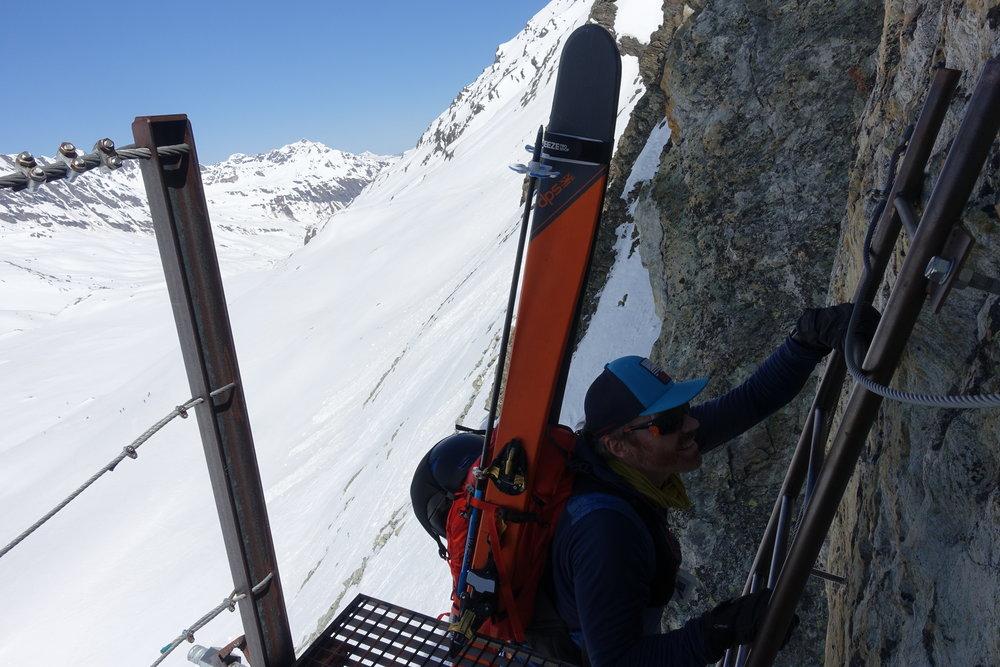 Climbing the 'Pas de Chèvres'