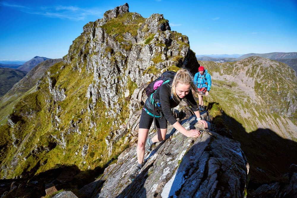 Iconic Scottish Munroes - Inaccessible Pinnacle, Aonach Eagach Ridge, Curved RidgeHazel and Luke climbed and scrambled up and along these rocky Munros. The