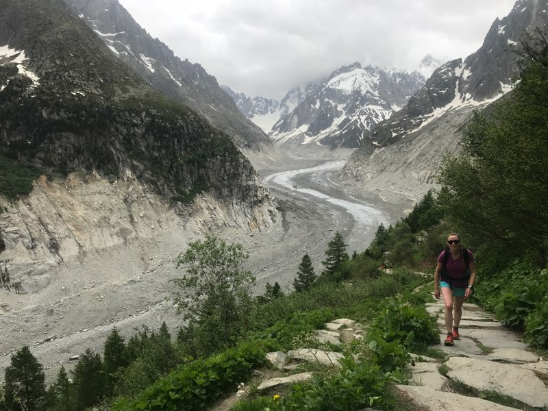 Hazel beside the Mer de Glace in summer 2018