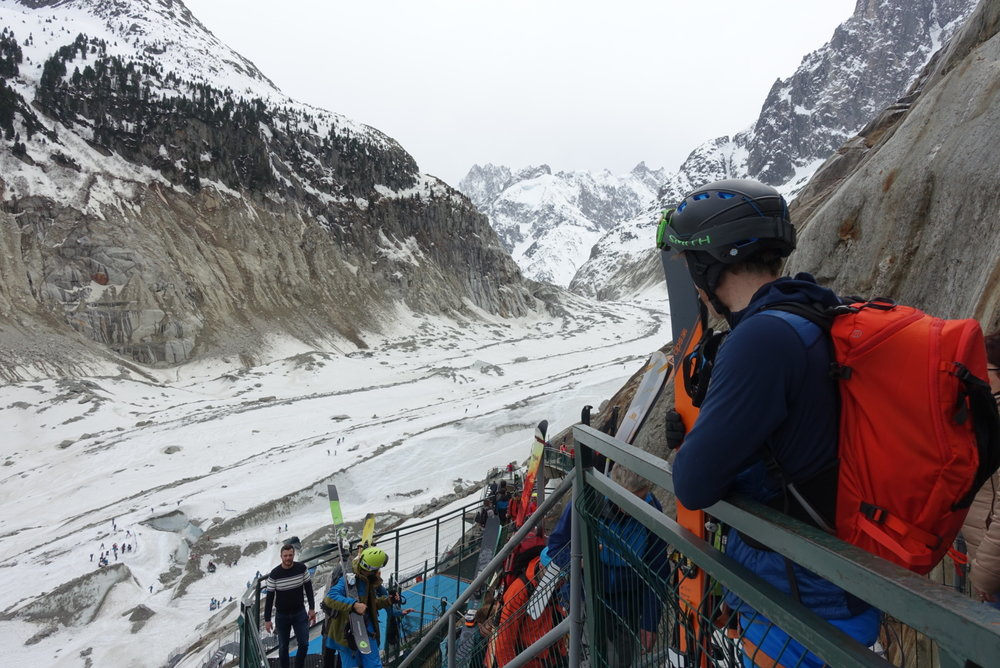 Looking back down on the Mer de Glace from the 2001 plaque in April 2018