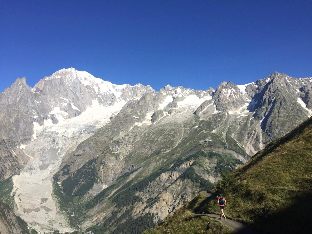 Ultra-Trail du Mont-Blanc Run - 170km run over 4 days with 10,000m of ascent and descentHazel and Luke ran the route of the infamous Ultra-Trail du Mont-Blanc or UTMB over 4 days, covering 170km and 10,000m of ascent and descent. The trail circled the highest mountain in the Alps - Mont Blanc - and wove through the high alpine regions of three countries - France, Italy and Switzerland. The route reached an altitude of 2500m and included many technical climbs and descents. Throughout the entire run, Luke and Hazel carried everything they needed on their back.