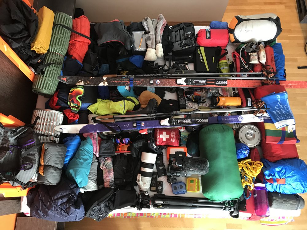 All the kit needed for a month-long ski expedition and for filming a documentary