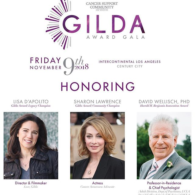 @cancersupportla is hosting their annual #GildaAwardGala next Friday! Honoring Lisa D'Apolito, @sharonelawrence, and Dr. David Wellisch.