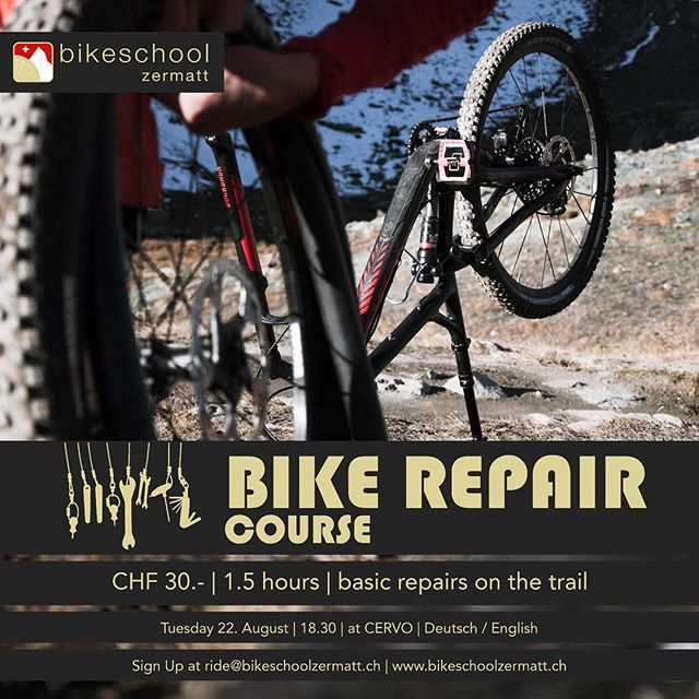 If you need some advice on how to change an inner tube, changing the break pads, adjust your cockpit and more, join our BIKE REPAIR COURSE at @cervozermatt  #mtbmaintenance #keepyourbikefit . . . . . . . . . . . . .  #mtbswitzerland #mtbzermatt #bikezermatt #bikeswitzerland #trekbikes #rideshimano #lifebehindbars #mtblove #mtblife #alps #inlovewithswitzerland  #mountaibike #biketools #mtbcare #mtb❤️