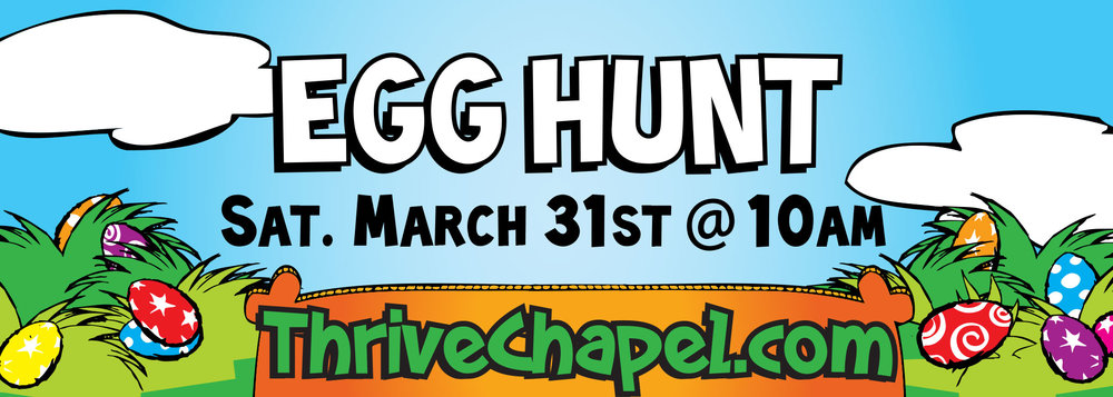 Some eggs will contain golden tickets for redemption prizes. Age-specific hunts as well as an egg hunt for children with disabilities will ensure every child receives candy.   Come Early/Stay after to enjoy:  FREE Easter bunny photos,  FREE bounce houses, FREE arts & crafts, FREE face painting  Chick-Fil-A and other light concessions will also be available for purchase, all proceeds will go towards Thrive Chapel ministry.    Then join us the next day for Easter Sunday Services at 9:30am & 11:15am