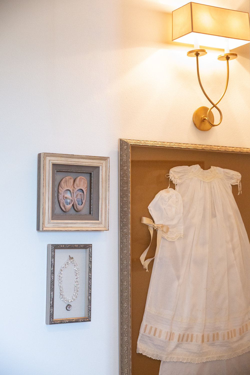 A family christening gown makes for a unique and personal display.